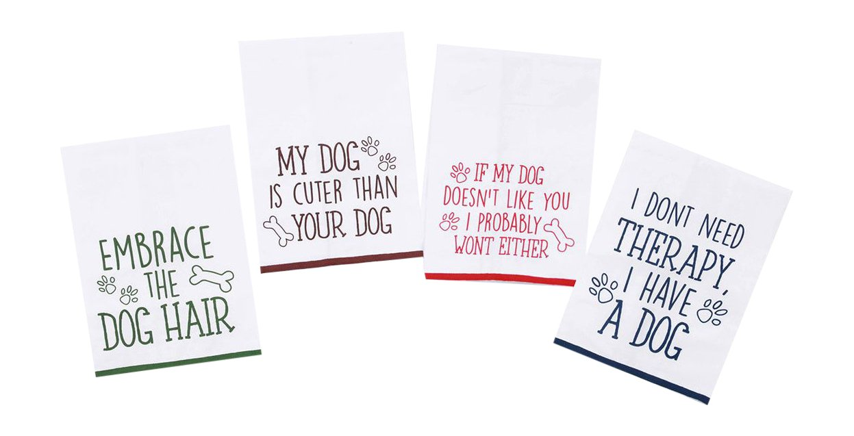 Amazon Com Dog Funny Sayings Kitchen Towels With Hang Loops Set Of