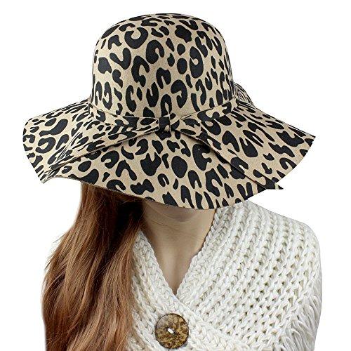 (Leopard Print Floppy Fedora Felt Hat, Khaki and Black)