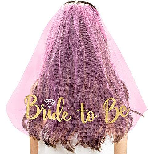 Price comparison product image Gold Diamond Bride To Be Pink Veil - Bachelorette Accessories and Supplies for the Bride