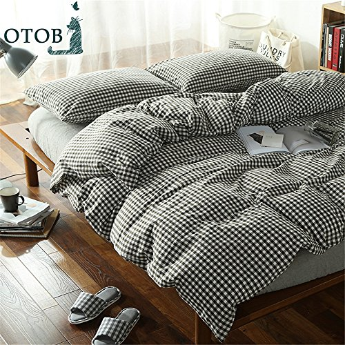 OTOB 100 Cotton Black and White Gingham Plaid Print Duvet Cover Set Simple Modern Geometric Grid Checkered Bedding Set for Kids Adults Boys Girls Teens,Ultra Soft and Easy Care,Fade Resistant,Queen Gingham Duvet Set