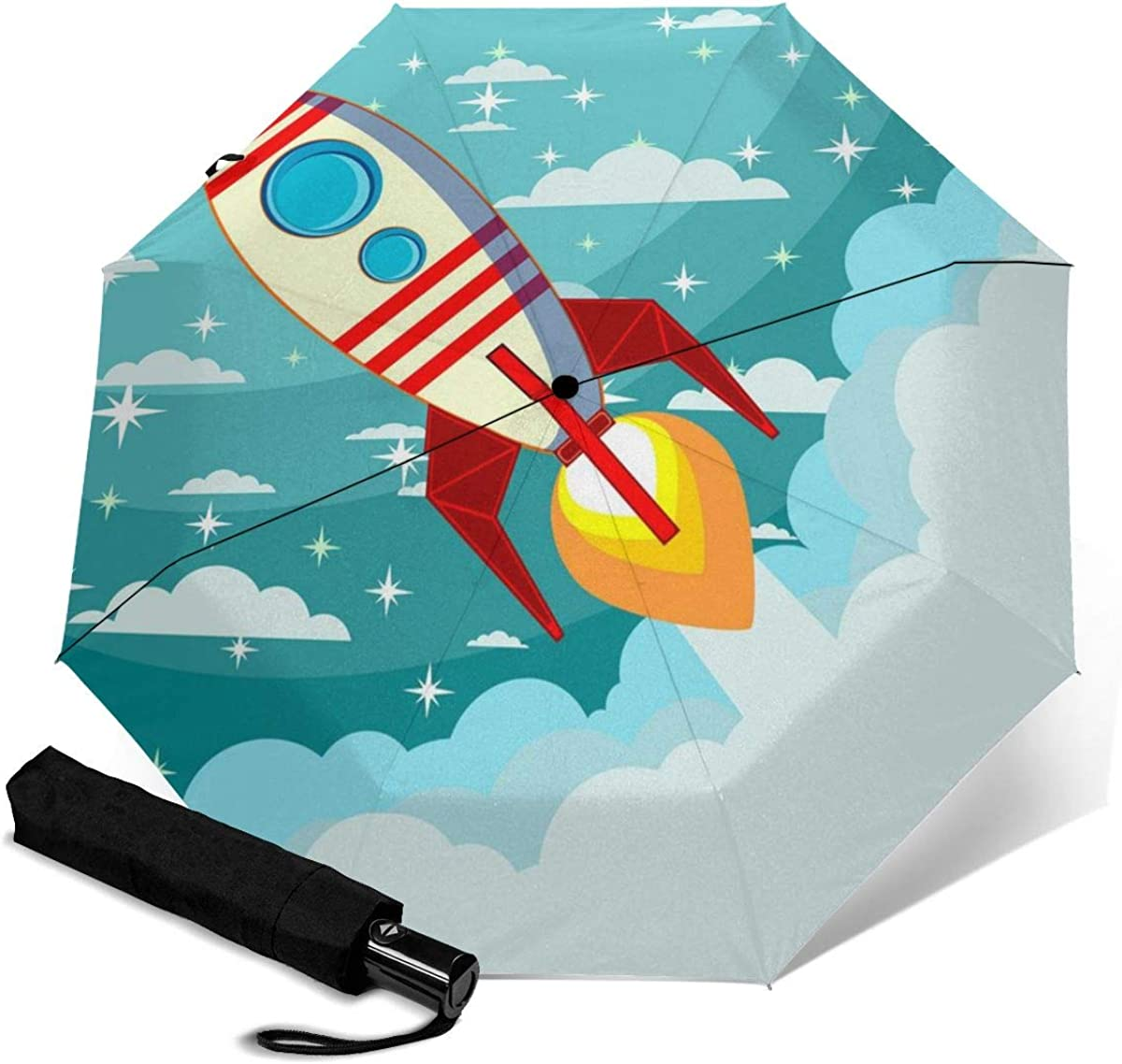 Spaceship On The Moon Background Compact Travel Umbrella Windproof Reinforced Canopy 8 Ribs Umbrella Auto Open And Close Button Customized