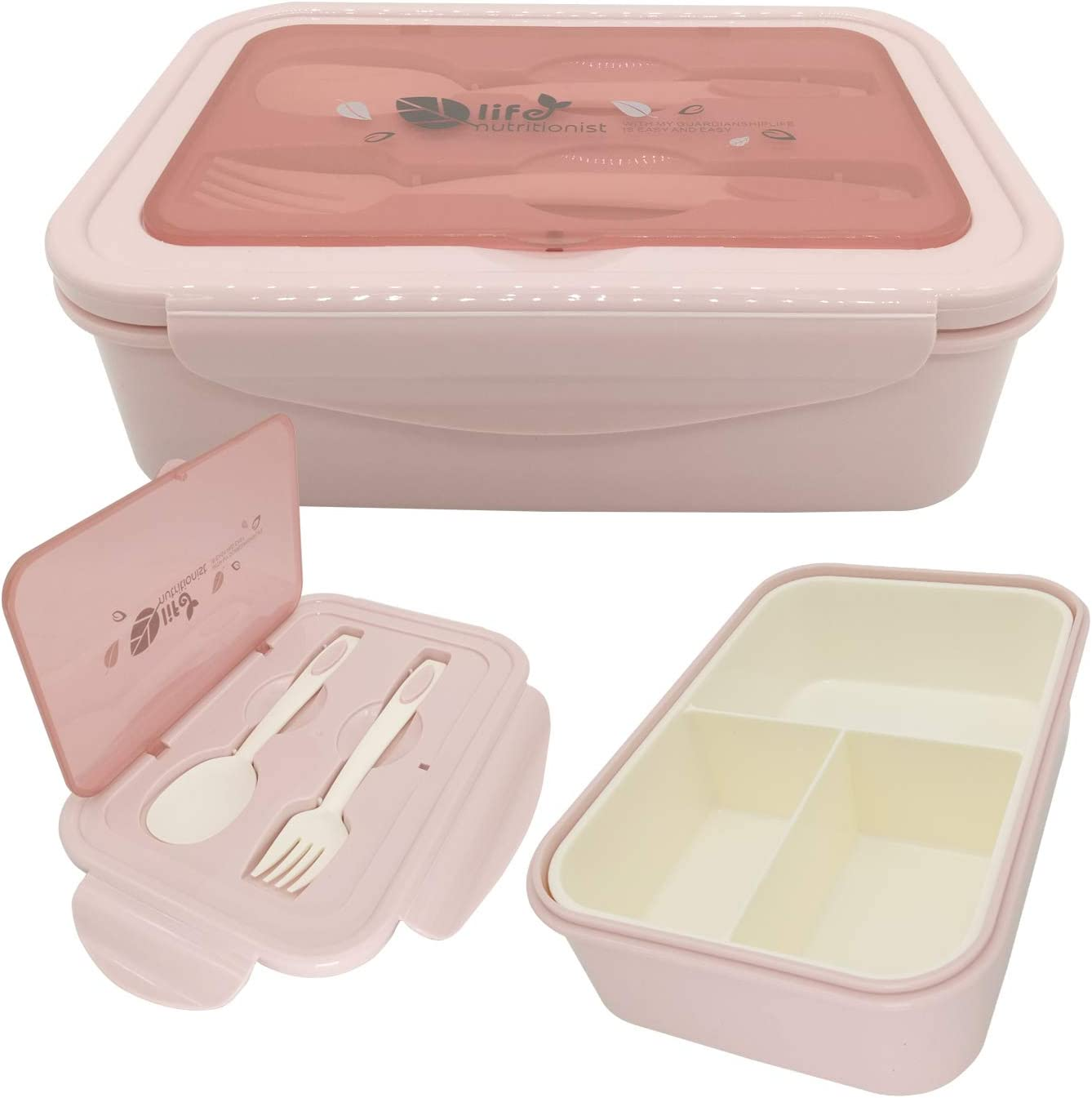 Bento Box, Lunch Box for Kids Adults, 3 Compartment Bento Lunch container, Food Storage Container Boxes, BPA Free On-the-Go Meal Prep Containers, Microwave/Dishwasher/Freezer Safe (Shallow Pink)