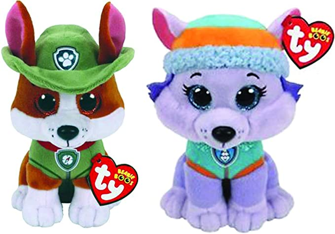 """Amazon.com: Ty Licensed Beanies - Paw Patrol Tracker & Everest 2 pc Set - 8"""": Toys & Games"""