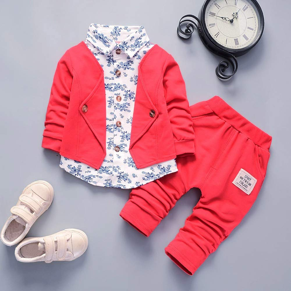 Lucoo Kid Baby Boy Gentry Clothes Set Formal Party Christening Wedding Tuxedo Bow Suit