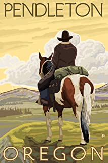 product image for Pendleton, Oregon - Cowboy and Horse (36x54 Giclee Gallery Print, Wall Decor Travel Poster)