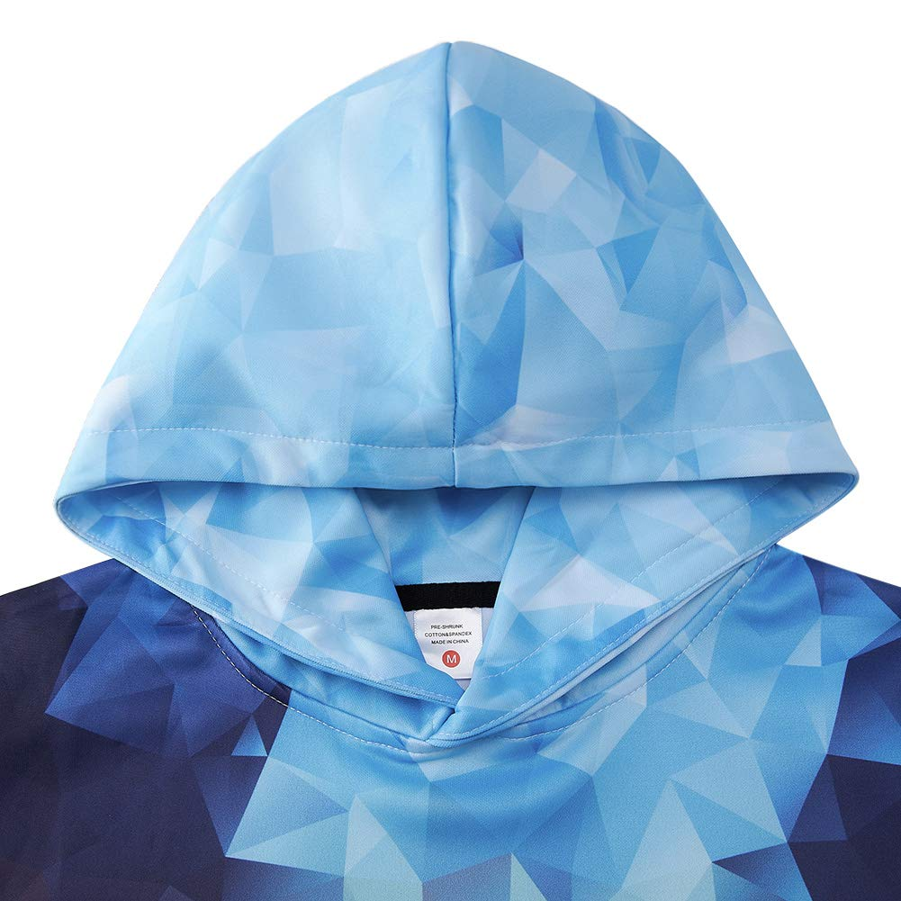 Unique Crisp Graphic Printing Hoodies Oversized Crew Hooded Sweatshirt 15 16 Year Olds Turquoise Navy Blue Geometry Color Block Ugly Hipster Unusual Baggy Sportwear for Young Girls Boys