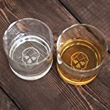 Skull Class Brand Laser Etched Skull on Scotch Whisky Glasses (Set of 2)