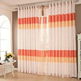 Red Orange Curtains Drapes – KoTing 1 Panel Colored Lines Window Curtains Grommet Top Drapes 50 inch Wide 96 inch Long Review