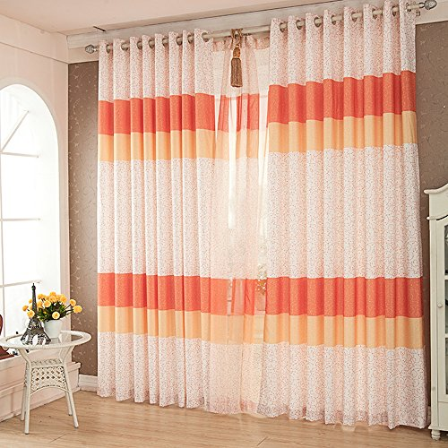 Red Orange Curtains Drapes - KoTing 1 Panel Colored Lines Window Curtains Grommet Top Drapes 50 inch Wide 96 inch Long