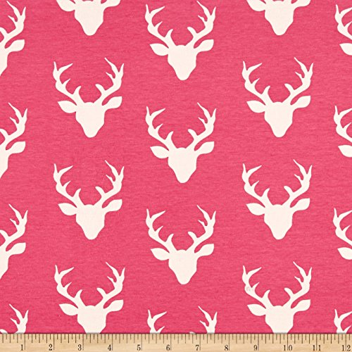 Art Gallery Fabrics Art Gallery Buck Forest Jersey Knit Fabric by the Yard, Camellia by Art Gallery Fabrics