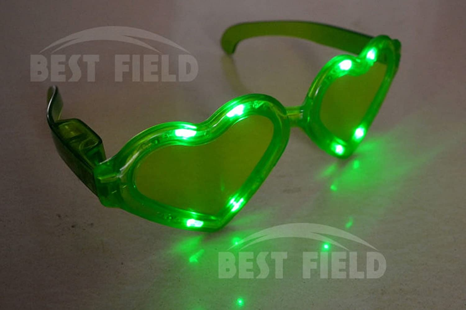 1 Pair Of Led Flashing Light Up Huge Jumbo Heart Lights Valentines Day Glasses Shades Various Colors By Mammoth Sales Blue Clothing