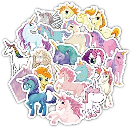 33 Unds pegatinas plastificadas de unicornios para patinetes, cascos, consolas, patines, ventanas puertas cuartos cuadernos trabajos.. de CHIPYHOME