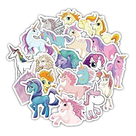 33 Unds pegatinas plastificadas de unicornios para patinetes, cascos, consolas, patines, ventanas