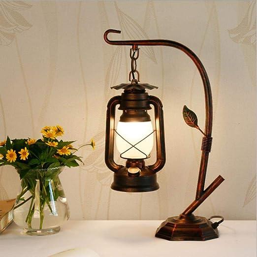LOERGSE Lámpara de Mesa China Linterna Vintage lámpara de ...