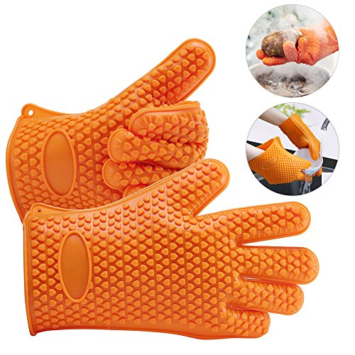 Best Review Of BBQ Gloves, AmyHomie Grill Gloves, Oven Mitts,Heat Resistant Silicone Gloves For Cook...