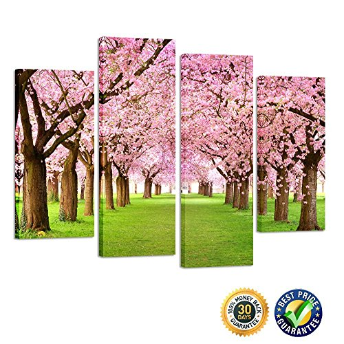 eces Large Cherry Blossom Trees Photo Canvas Wall Art Spring Pink Forest Picture Framed Artwork Wall Decoration Ready to Hang (Wall Decoration Spring)
