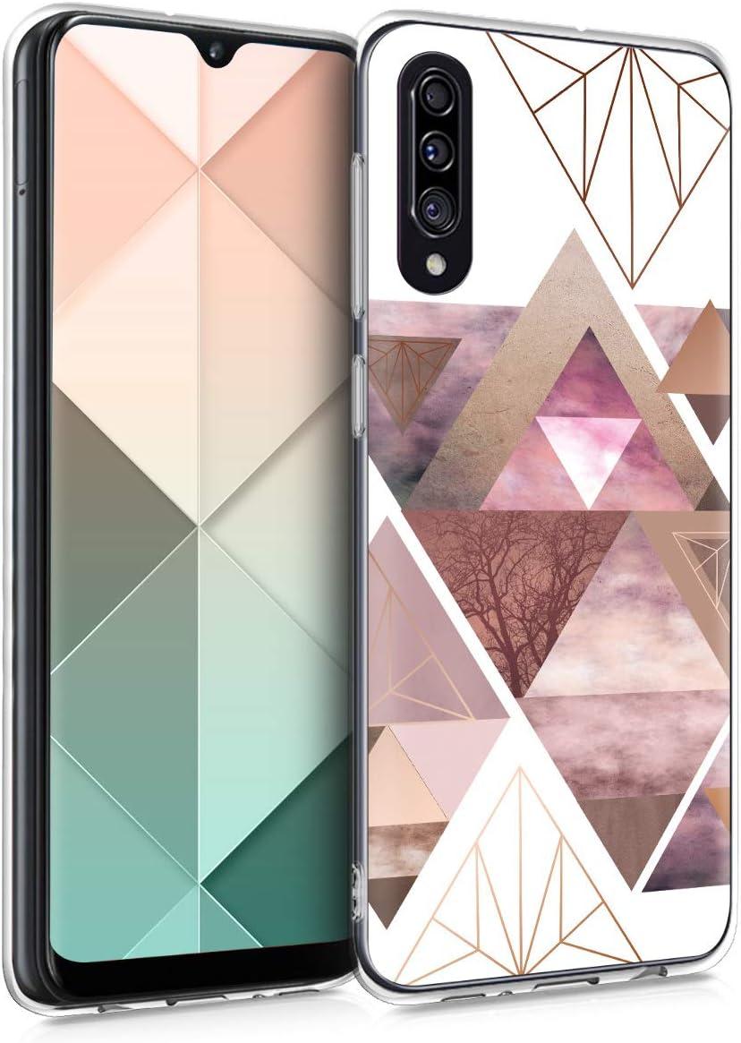kwmobile Funda Compatible con Samsung Galaxy A30s - Carcasa de TPU y triángulos en Rosa Claro/Oro Rosa/Blanco