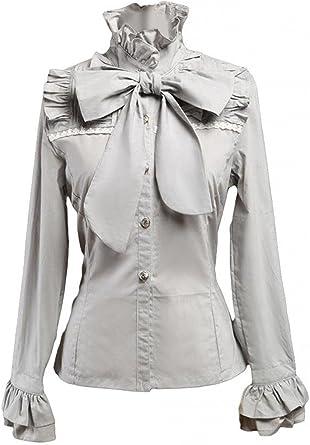 Ainclu Cemavin Womens Elegant Gray Cotton Long Sleeves Lolita Shirt: Amazon.es: Ropa y accesorios