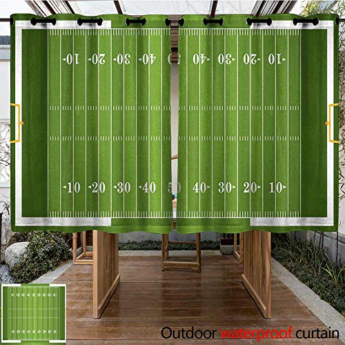 Onefzc Indoor/Outdoor Curtains Football Sports Field in Green Gridiron Yard Competitive Games College Teamwork Superbowl Simple Stylish 72