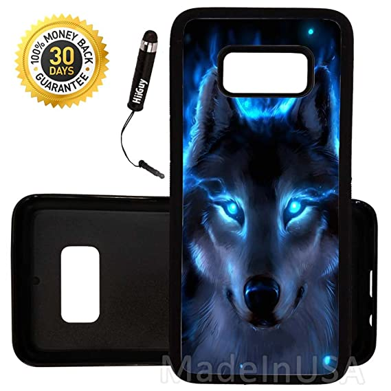 best loved e70bf 661b8 Custom Galaxy S8 Case (The Blue Wolf) Edge-to-Edge Rubber Black Cover Ultra  Slim | Lightweight | by Innosub