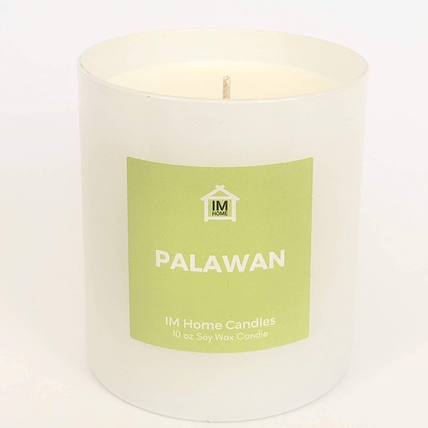 Palawan Scented Candle, 10 Oz Natural Soy Wax, Hand-Poured in a Reusable White Jar, Relaxation Aromatherapy, Bamboo and Coconut