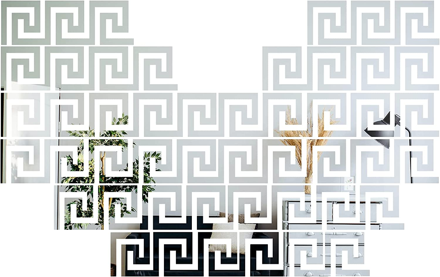 MicButty Mirror Wall Stickers, 48 PCS Removable Acrylic Mirror Wall Decal Geometric Greek Key Mirror Sticker Adhensive Stickers for Home Living Room Bedroom TV Background (Silver, 4 x 4 Inch)