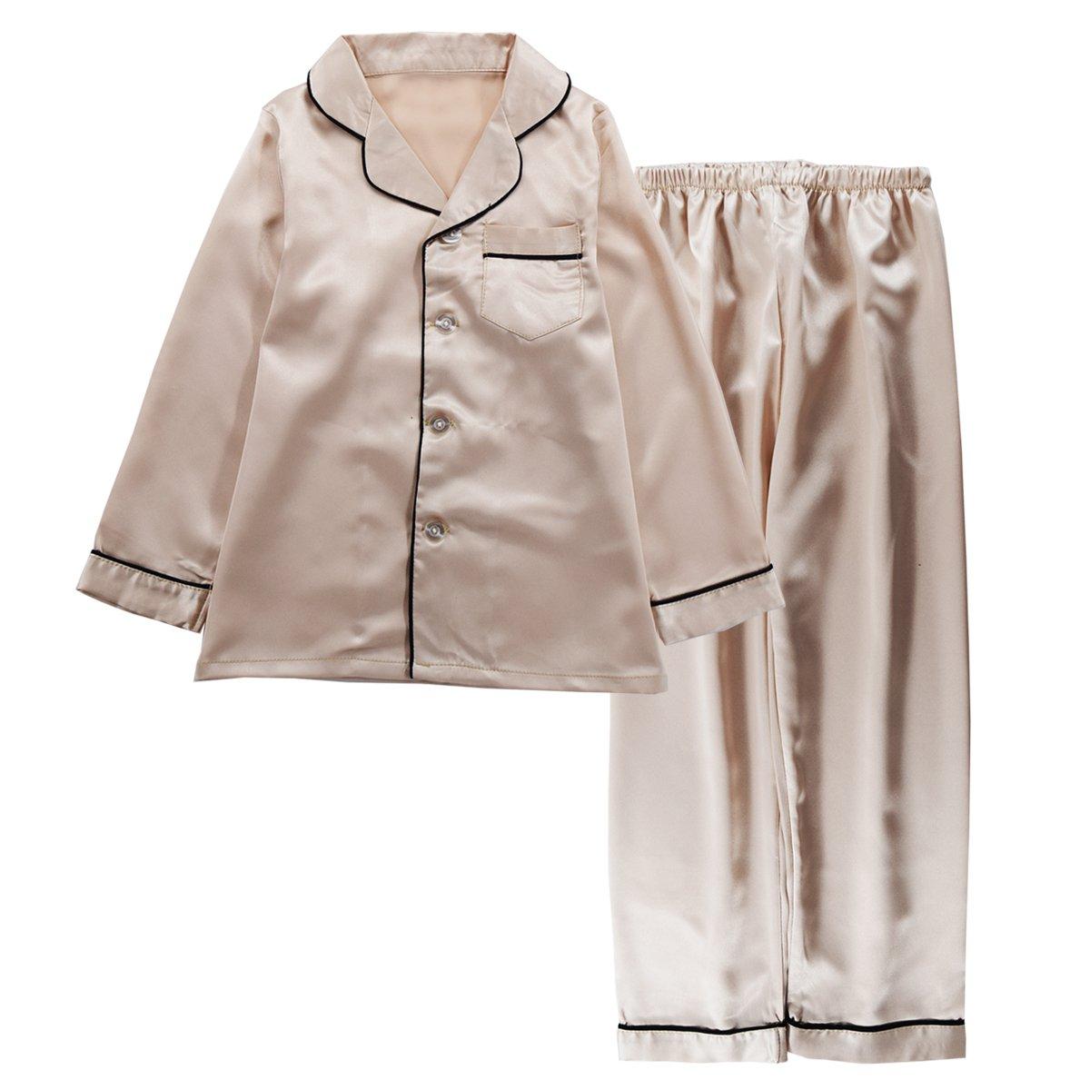 JOYTTON Kids Satin Pajamas Set PJS Long Sleeve Sleepwear Loungewear Champagne