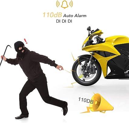 Agptek Bremsscheiben Schloss Für Motorrad Alarmfunktion Diebstahlschutz Stahl 7 Mm 110 Db Für Motorräder Fahrräder Wasserdicht Mit Tasche Und 2 Schlüsseln Auto