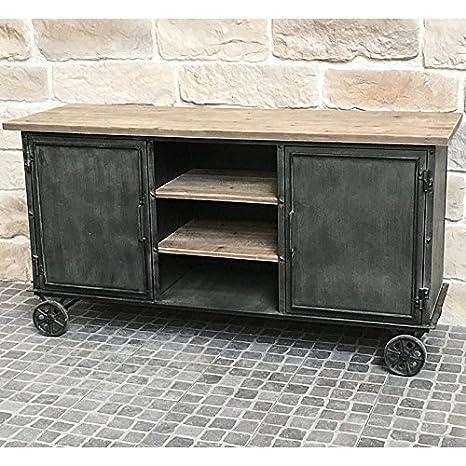 Consola aparador con ruedas de estilo baúl industrial campestre de hierro y madera: Amazon.es: Hogar