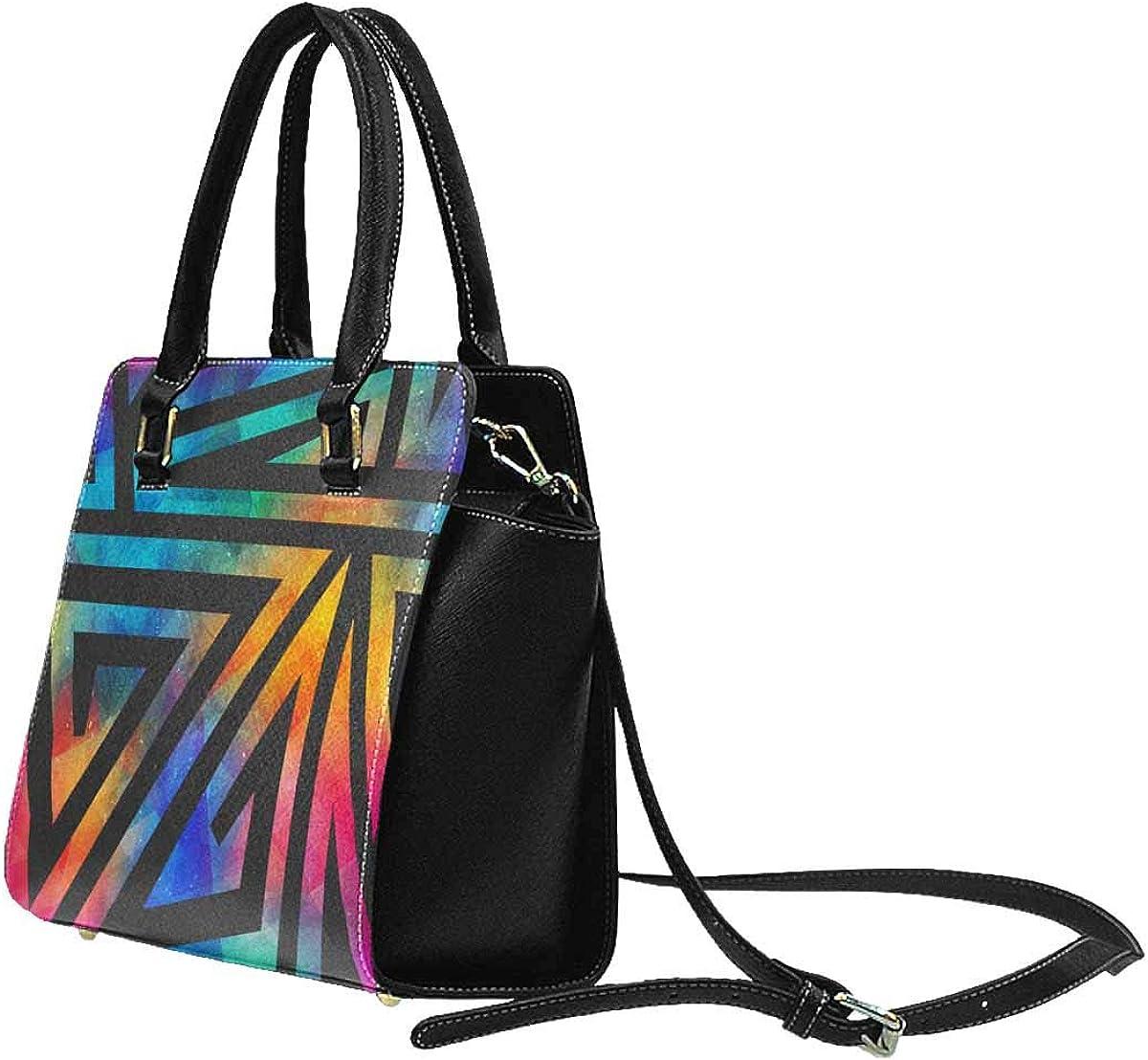 INTERESTPRINT Grunge Geometric Pattern Purses and Handbags Shoulder Bag for Women Ladies Girls