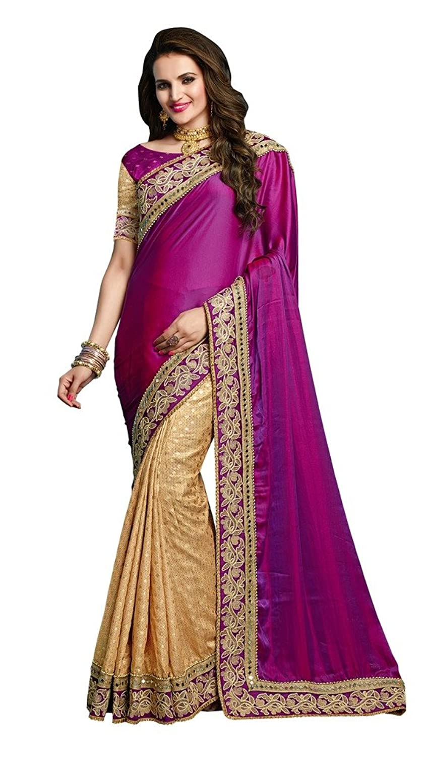 EthnicWear Elegant Party Sangeet Women Wear Purple Silk Sarees Saris