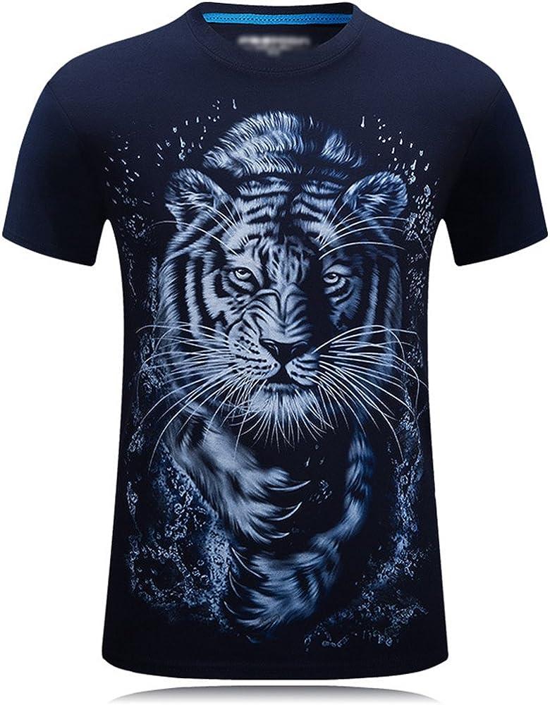 Cayuan Hombre Manga Corta Tops Verano O Cuello Camisetas 3D Tigre ...