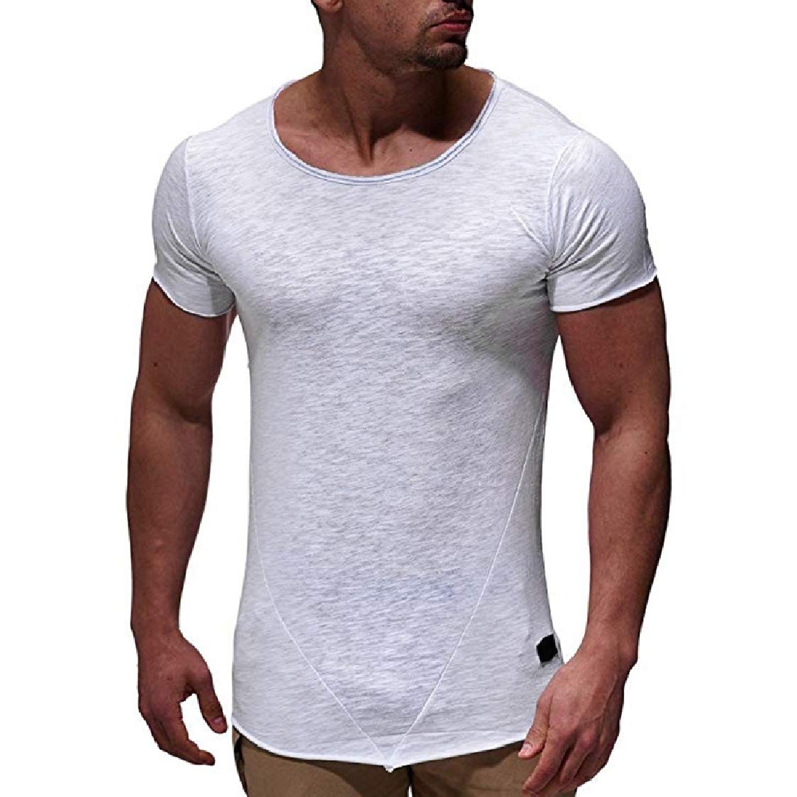 Nanquan Men Crew Neck Short Sleeve Casual Stitching Solid Tee T-Shirts