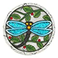 "Blue_Bright Decorative Stepping Stone Jewel Dragonfly Flower Garden Round Cement Concrete Path Lawn Yard Backyard Outdoor Decor 10"" Multi Color New"