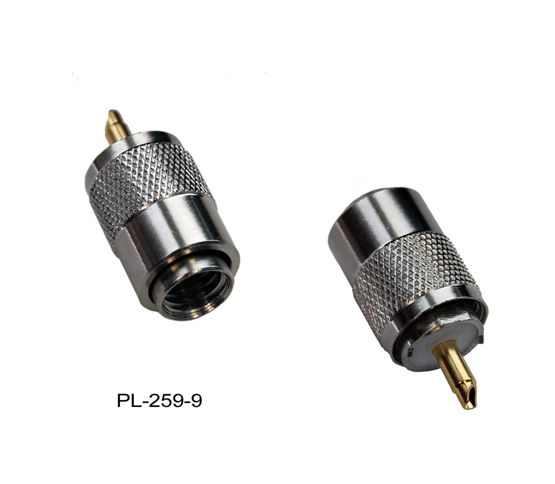 10 x Pl de conector: 10 pieza conector PL 259/9 para cable coaxial RG-213U y RG-213 (con conector dorado para antenas VHF de radiocontrol marítimo interior ...