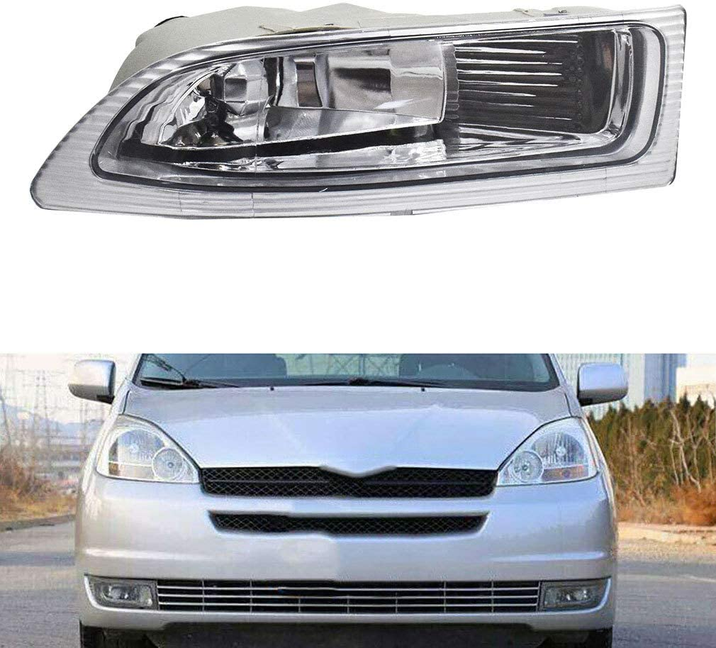 Driver /& Passenger Fog Lights Lamps Assembly Replacement Housing//Lens//Cover Left /& Right Fit for 2004-2005 Toyota Sienna TO2593118 TO2592118 81210-AE010 81220-AE010