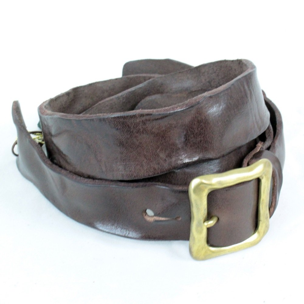KAMINARI K-GLS01DBR Washed Leather Strap B0196I8H88