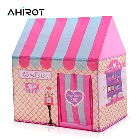 AHIROT Girls Princess Castle Pink Tent Playwear Large Children Birthday  Gift Indoor Outdoor Use Playhouse, Roomy Enough for 2-3 Little Girls Play