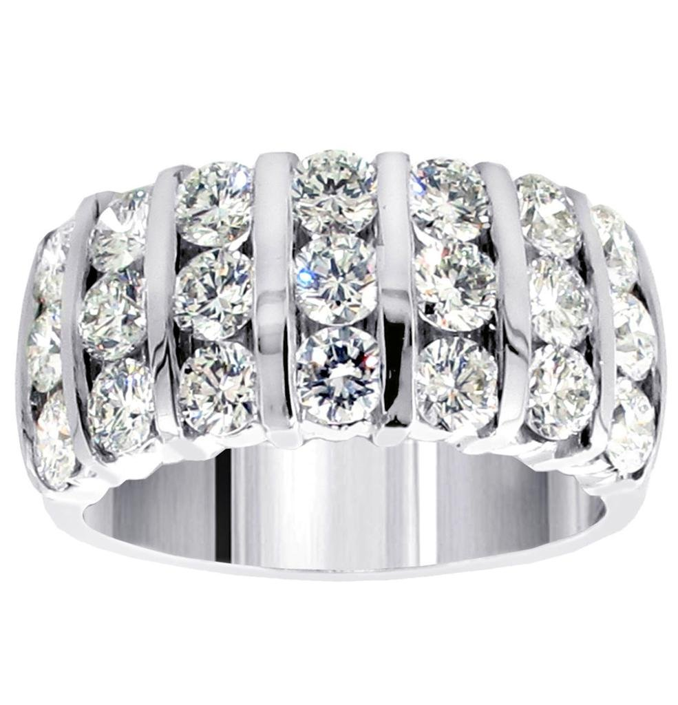 3.00 CT TW 7-Row Bars Channel Set Round Diamond Anniversary Ring in 14k White Gold - Size 6