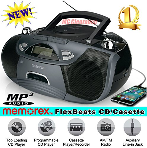 Memorex CD/Cassette Recorder MP3 AM/FM FlexBeats Portable Boombox MP3262-X with Aux line in jack - Black ()