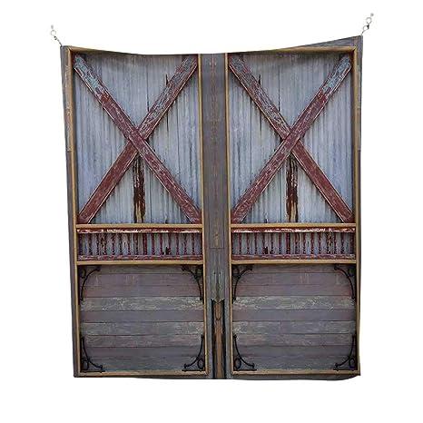 Amazoncom Industrialtapestryzinc Style Wooden Gate Image Street