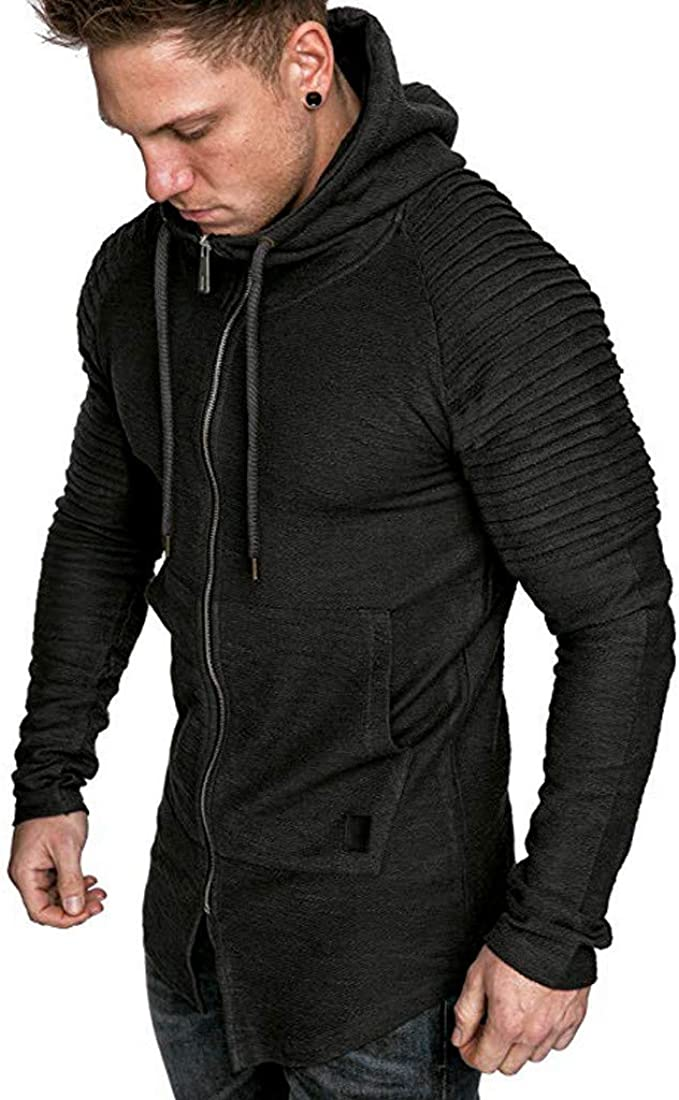 Cathalem Mens Outdoors Jacket Running Sports Plaid Pullover Regular Fit Sweatshirt Casual Hooded Outwear