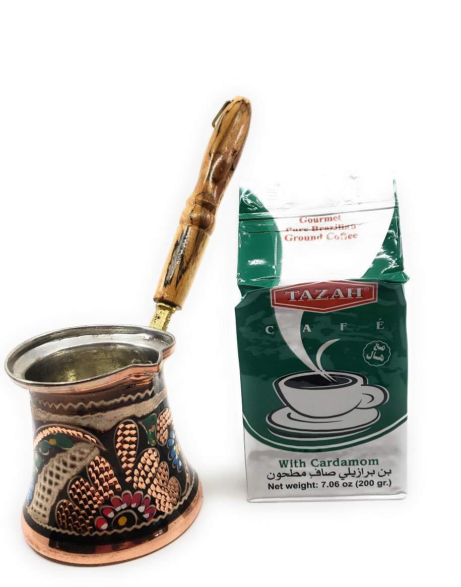Set of 4 Handmade Copper Turkish Greek Arabic Coffee Espresso Cup Saucer Gawa