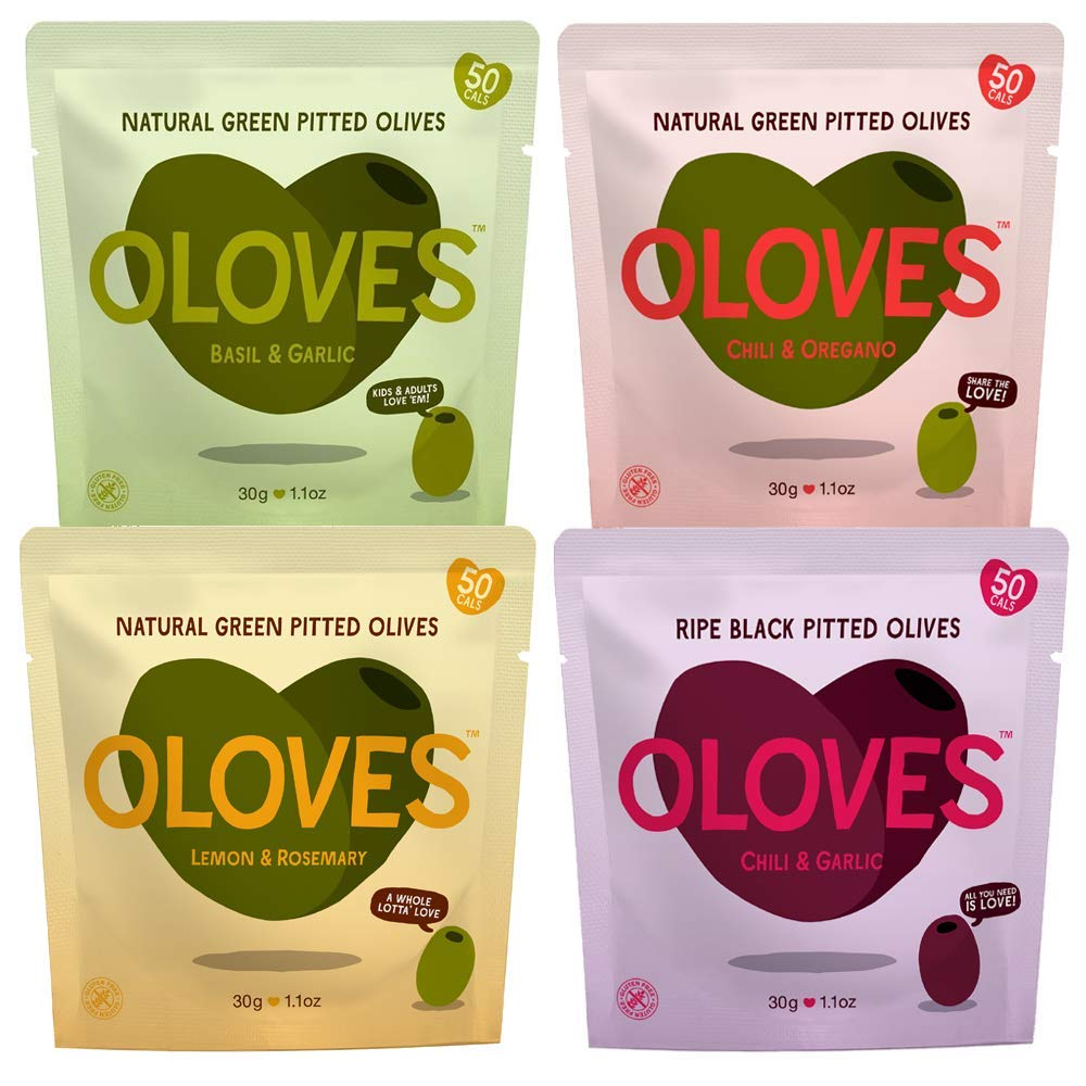 OLOVES Natural Whole Pitted Olives | 12 Pack Variety | Basil & Garlic, Chili & Oregano, Lemon & Rosemary, Chili & Garlic | Vegan, Kosher, Gluten Free + Keto Friendly Healthy Snacks