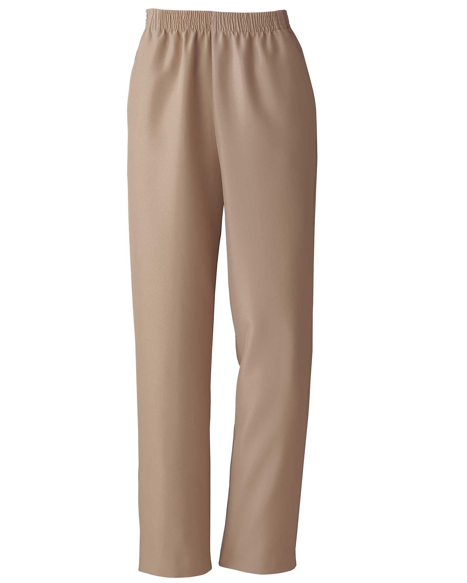 Donnkenny Elastic-Waist Gabardine Pull-On Pants, Khaki, 10P