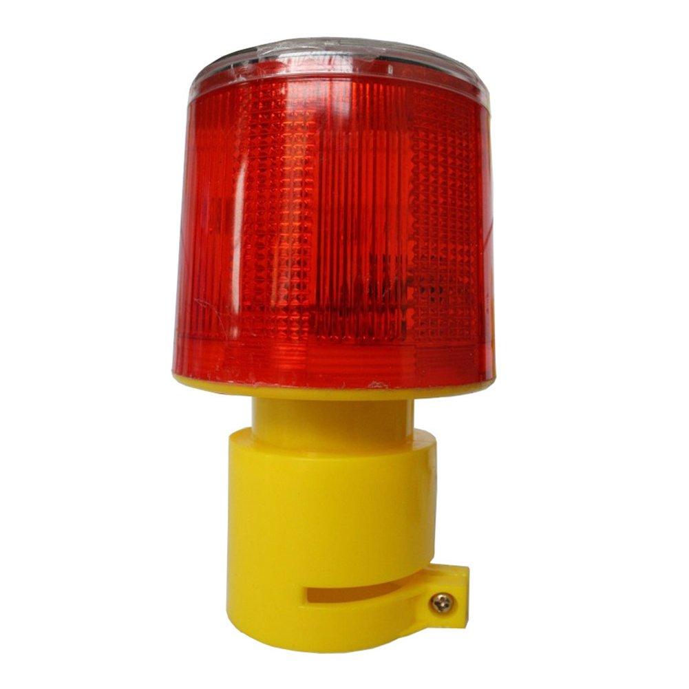 DE-Spark Emergency LED Solar Powered Strobe Warning Light, Road Construction Cone Traffic Light Flicker Beacon Lamp (Round Base)