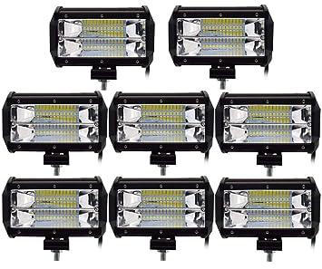 Leetop 8X 72W Focos de Coche LED Potentes,IP67 Impermeable Blanco Frío Faro de Trabajo