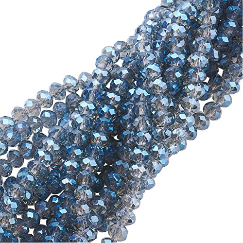 NBEADS 10 Strands Faceted Abacus Blue Electroplate Glass Beads Strands with 6x4mm,Hole: 1mm,about 100pcs/strand