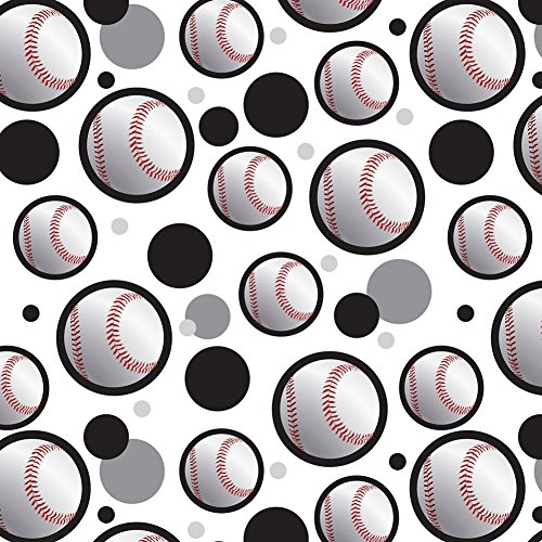 Premium Gift Wrap Wrapping Paper Roll Pattern - Baseball Ball Sport American National - Ball on Black]()