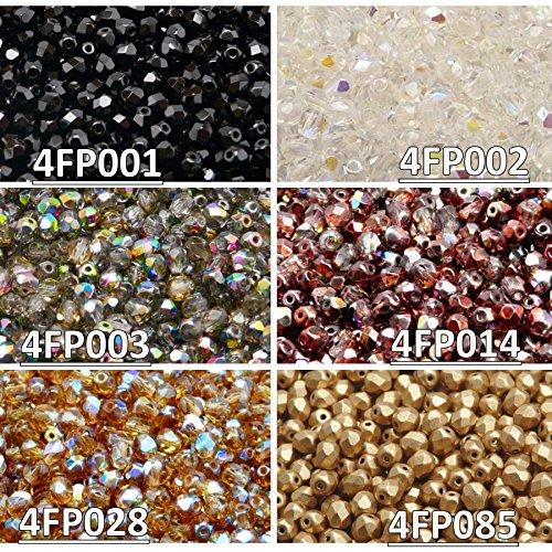 600 Beads 6 Colors Czech Fire-Polished Glass Beads Round 4 mm, Set 425 (4FP001 4FP002 4FP003 4FP014 4FP028 4FP085)
